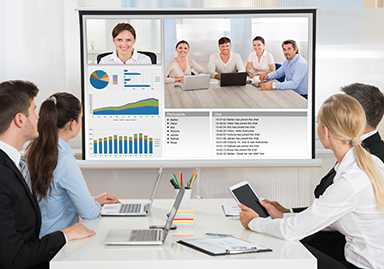 group of colleagues using syntela video conferencing
