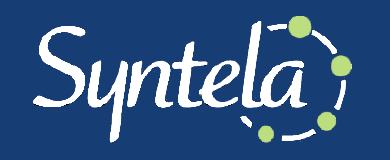 syntela logo on blue background
