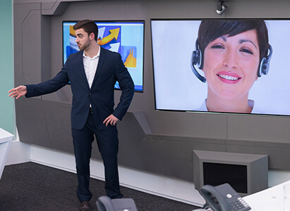 group of people having a video conference using syntela solutions