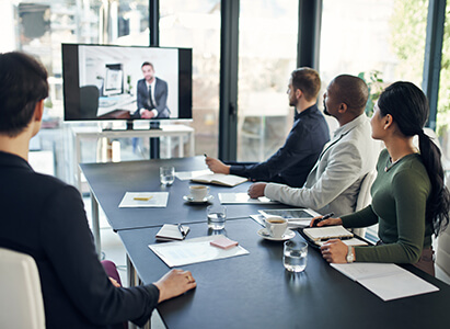 business meeting using syntela video conferencing